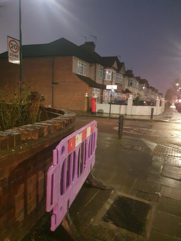 barrier on corner -212 Uxbridge Road, London, UB1 3DZ