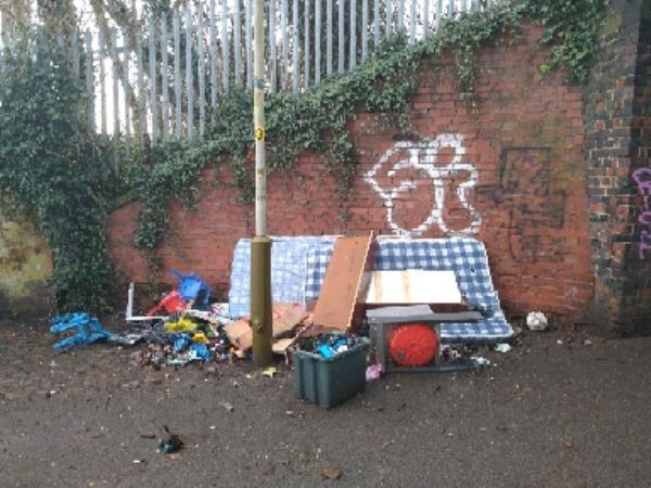 more flytipping in the underpass-188 Wilberforce Road, Leicester, LE3 0DJ