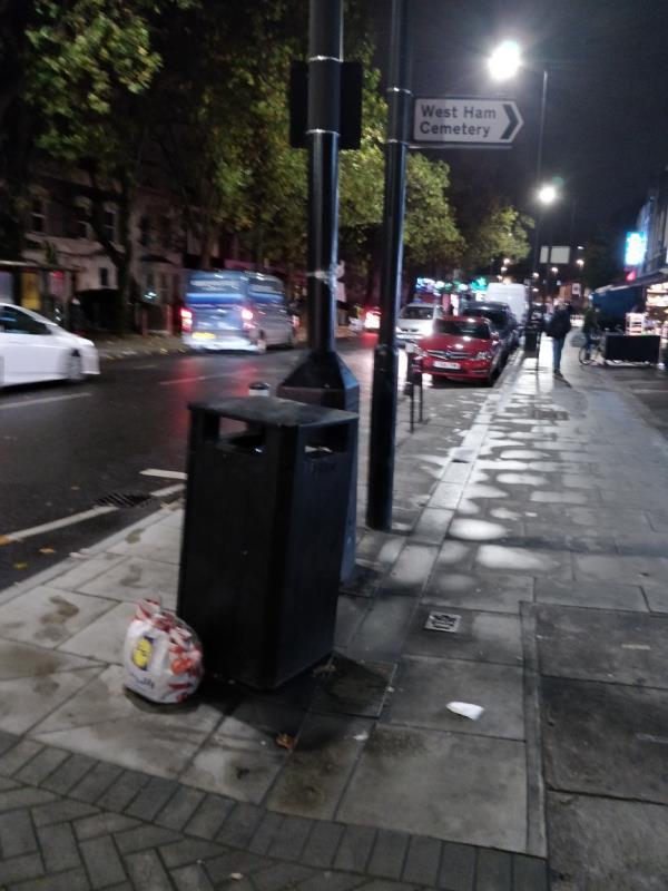 Dumped bag of rubbish on the pavement beside 84 Leytonstone Road E15-84-90 Leytonstone Road, London, E15 1TQ