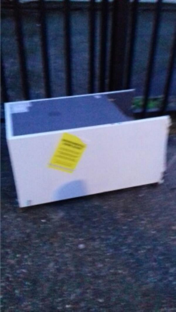 A small fridge dumped near 107 Holborn Road -107 Holborn Road, London, E13 8NW