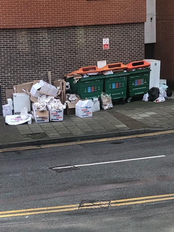 Dumped waste by bins -4 Cam Road, London, E15 2SN