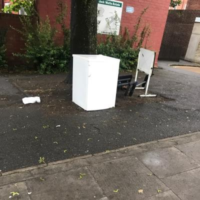 Flytipping needs clearing.  -32 Mount Pleasant Hill, Clapton, London E5 9NF, UK