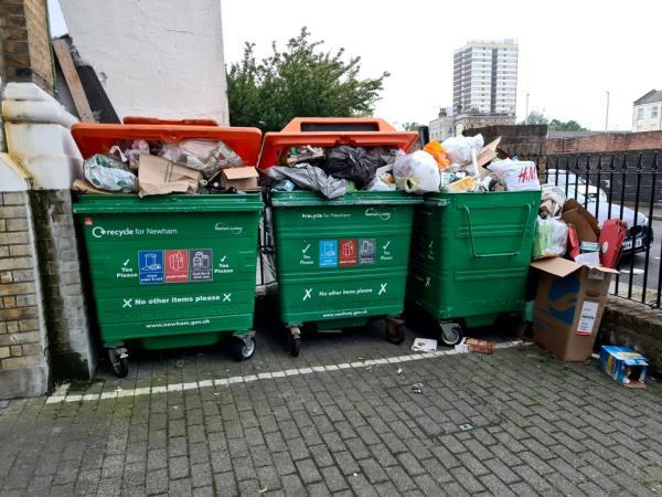 recycling overflowing,  as it does every single week. we either need more recycling bins or weekly collection!-Gazelle House, 8 Manbey Park Road, London, E15 1EQ