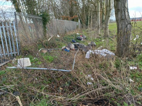 Since two months we reported this nothing been done how long this dangerous rubbish will need to waiting here? We have got kids and is not safe for them when do you clean this street? image 2-16 Tangmere Road, Ettingshall, WV14 0HU
