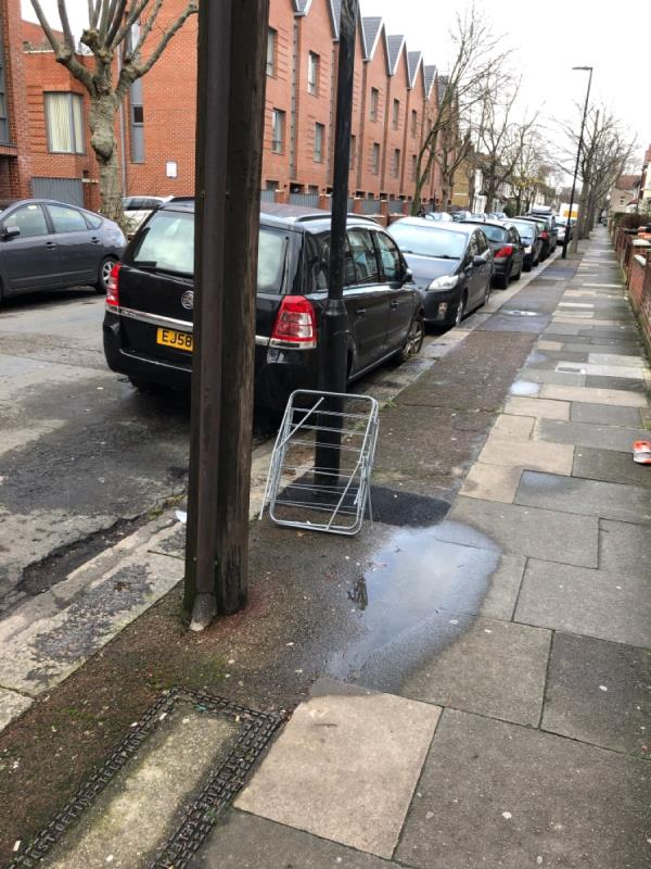 Clothes airer outside 24 Credon rd-20 Credon Road, London, E13 9BJ