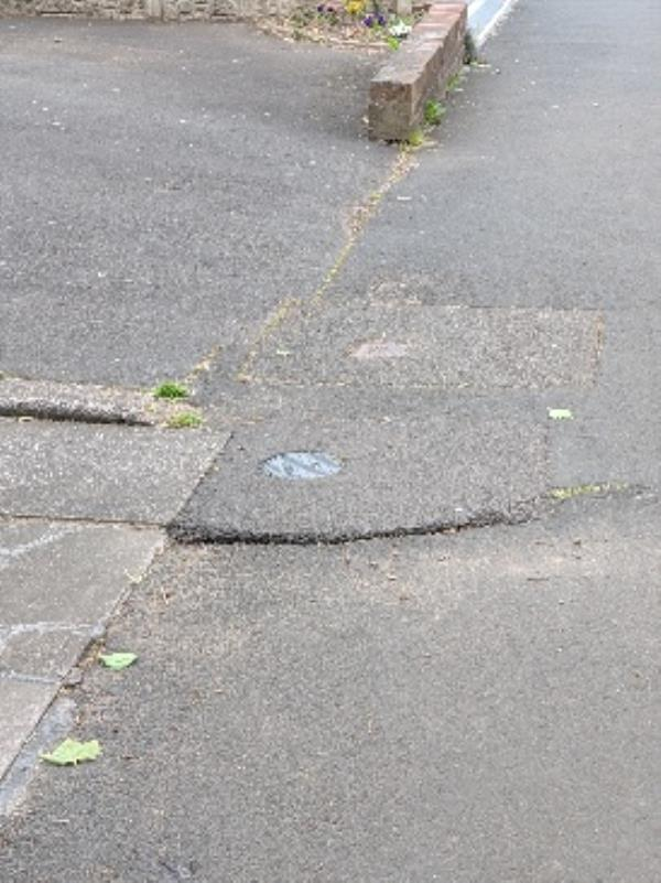 footpath trip hazard. I tripped over this where footpath gas either lifted or subsided to creat a trip hazard-297 Warstones Rd, Wolverhampton WV4 4LB, UK