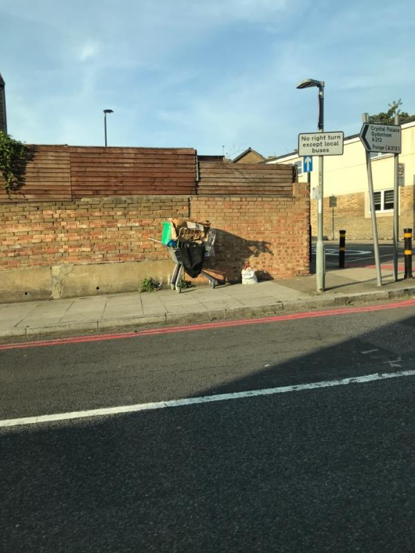 Shopping trolley full of rubbish Stanstead rd junction Glenwood Rd-36 Stanstead Rd, London SE6 4NU, UK