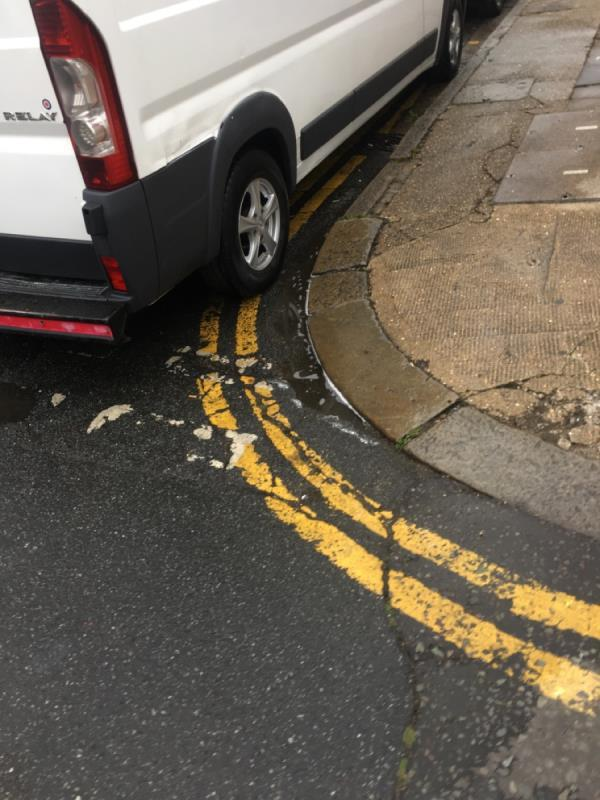 Van parked on a double yellow line. Very risky when crossing -83 Glenparke Road, London, E7 8BP