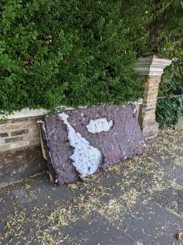 Fly tipped mattress. Has been here for WEEKS. PLEASE get rid of it as it is encouraging other fly tippers.-33 Wickham Road, Honor Oak Park, SE4 1PW