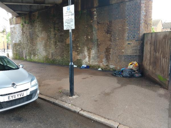 Stacey road under bridge. Black bags etc on both sides of the road image 1-7 Moore Walk, London, E7 0HG