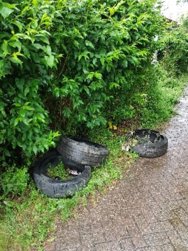 4 tyres dumped (one is out of shot in the photo).-1 John St, Wolverhampton WV2 2LS, UK