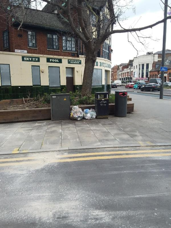 Boxes, litter and Bin bags left at this location-322 High Street, London, E15 4QZ