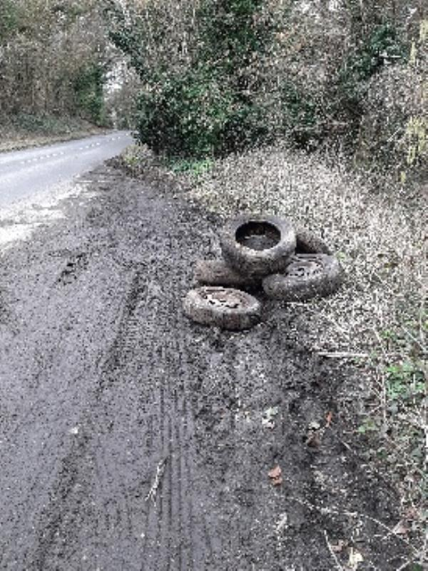 8 tyres dumped in layby on righthand side just pass Allington Lane turning on the Lewes Road heading towards Ditchling -Offham Road, East Chiltington, BN7 3AA