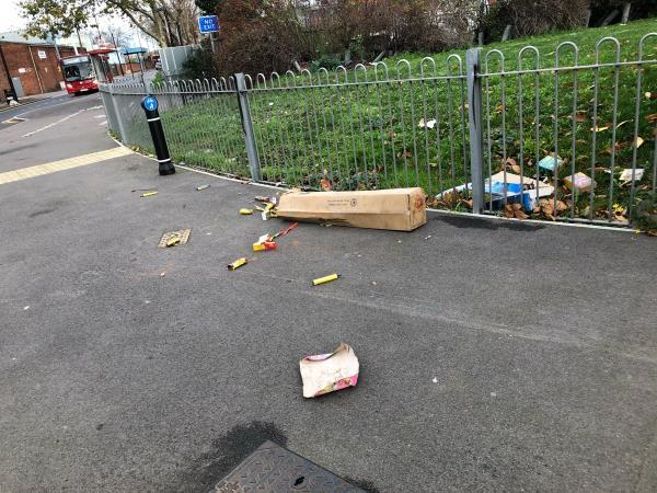 Discarded fireworks unknown if used or not on pavement on chobham road -171 Chobham Road, London, E15 1DP