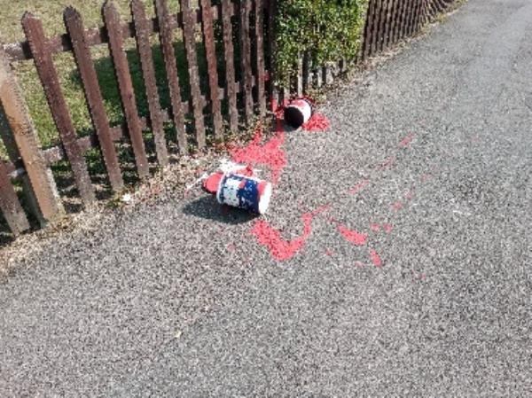 Paint spillage on the Pavement -55 Long Barn Lane, Reading, RG2 7SY