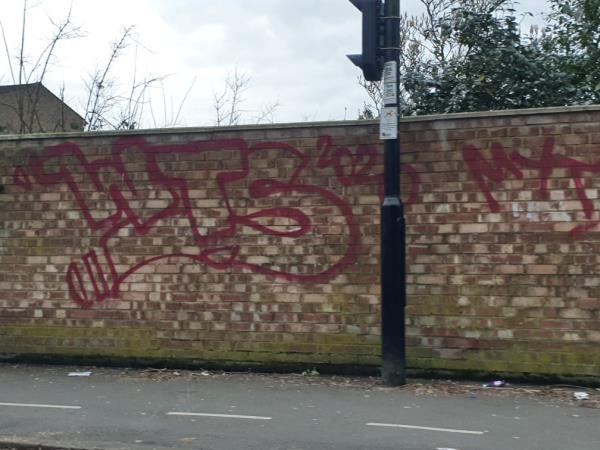 large amounts of red spray graffiti on walls and  cable boxes-4 Craven Court, 3 Dormers Wells Lane, London, UB1 3HS