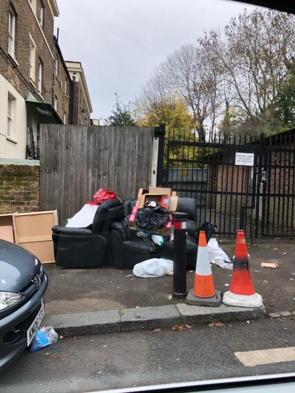 Rubbish and chairs on pavement -77 London Road, London, SE23 3TY