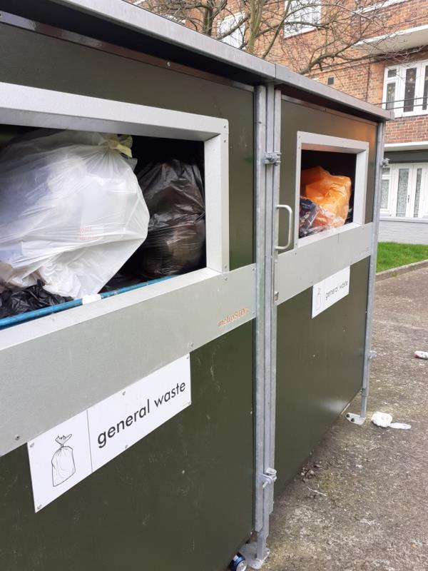 the bins in the metro stores are overflowing from last week. Valentine court 33-48 and 49-60.-106 Perry Vale, London, SE23 2LH