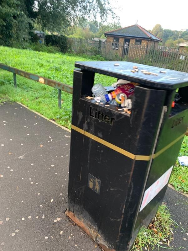 Bin full next to bus stop B on Stansfeld road-1 Richard House Dr, London E16 3RE, UK