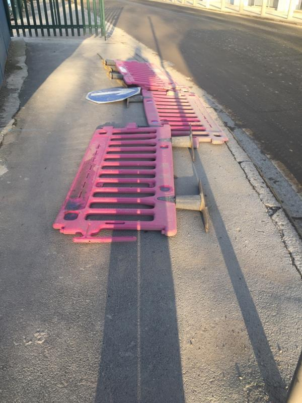 Abandoned Newham barriers blocking the pavement on Knights Road -5 Knights Road, London, E16 2AT
