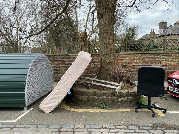 Mattress and office chair dumped by the bicycle hut-1 Jansons Road, Seven Sisters, N15 4JR