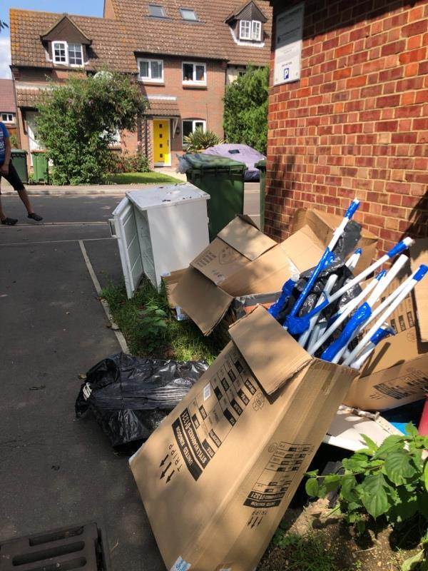 Loads of household or commercial items including a fridge and kids' garden pool cartons. -26 Agate Close, London, E16 3TU