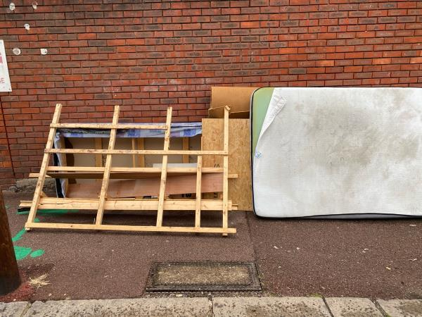 Bed, Carpet Tubes , Fences and Mattress image 1-666a Romford Road, Manor Park, E12 5AQ