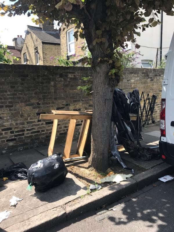 Fly tipping near bin on Vaughan Road-5 Vaughan Road, London, E15 4AE