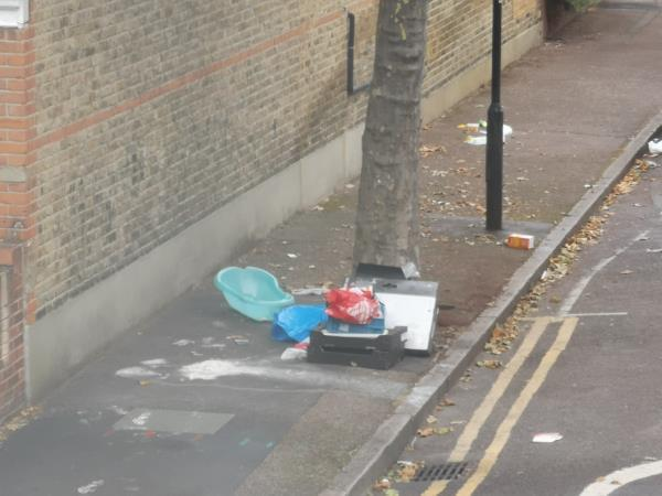 fly tipping dumped by neighbours-55b Frinton Road, London, E6 3EZ