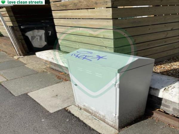 Remove graffiti from cable box-7d Jerningham Road, New Cross Gate, SE14 5NQ