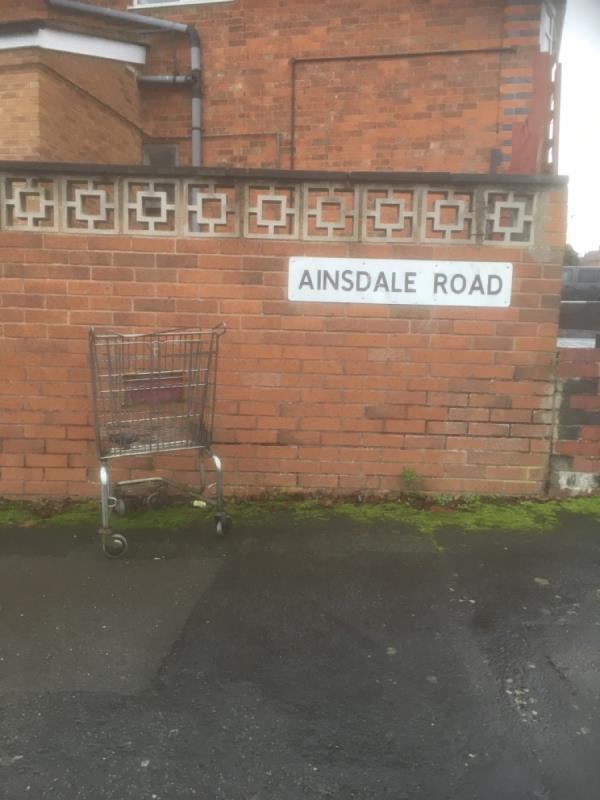 Reported this before but is still there shopping trolley-8 Kingswood Avenue, Leicester, LE3 0UL