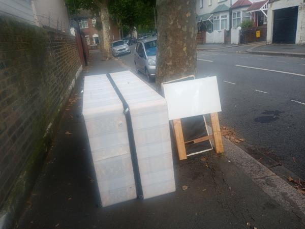 Another disgusting flytip, this time made with no regard for anyone who may be wider than half a metre or have a pushchair of wheelchair.  Newham has no problem letting landlords dump in the street for free and picking up their commercial waste for free, and due to this expense, council-tax payers are not allowed a green bin. I drive to the tip with a carload of greenwaste and have to prove I live here. How is that fair? Come on Newham, where is your covert CCTV and effective enforcement!-34 Mitcham Rd, London E6 3LU, UK