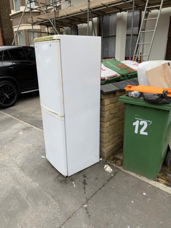 Flytip fridge -10 Earlham Grove, London, E7 9AW