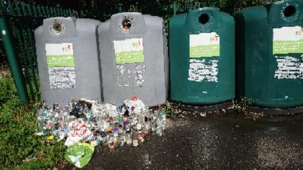bottle banks full needs to be emptied -100 George Street, Reading, RG4 8DH