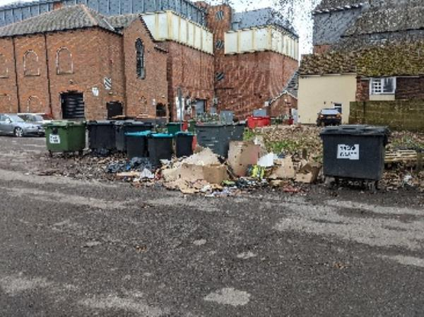 fly tipping from business'-St Marys Church House Chain Street, Reading, RG1 2HX