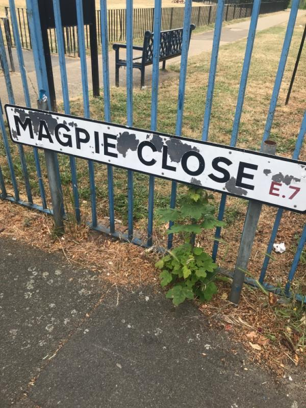 Signs needed replacing for about 18 months. Reported numerous times without action -34 Magpie Close, London, E7 9DE