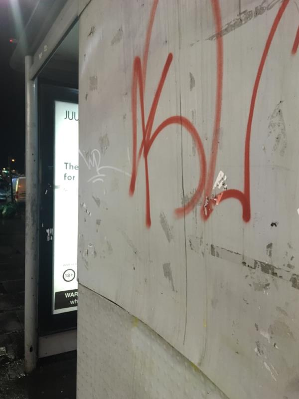 Bus stop graffiti tags ( dark area lights out since 2019, brings these problems)-30 Woodgrange Rd, Forest Gate, London E7 0QH, UK