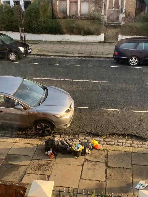 This rubbish was left outside our house on the street about 3 days ago. Sadly did not see who did it -58 Finsbury Park Road, London, N4 2JX
