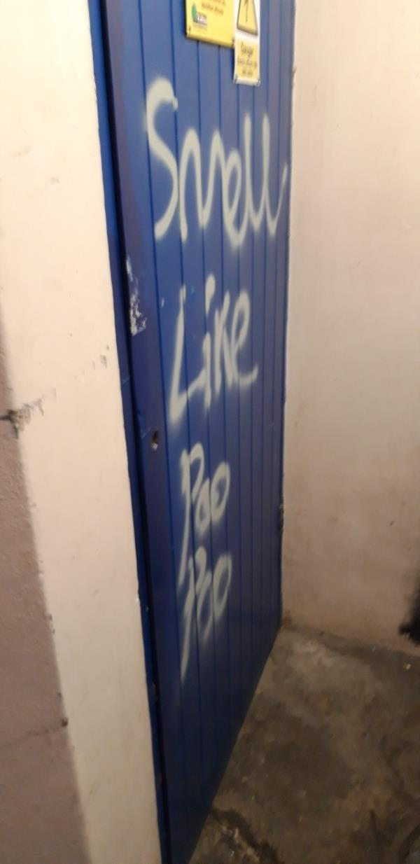 Graffiti white  tag offensive on intake cupboard oxford ct Copley close ,templeman rd electrcal intake cupboard door and binroom door -65 Templeman Rd, London W7 1AS, UK