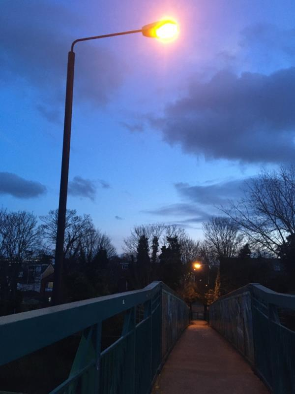 """Old style street lamp dull & inadequate to provide enough light to cover the footbridge. I thought Newham was suppose to go full LED on street lights by the end of 2019? Reported in 2019, job closed as """"completed """" but no action taken. Dark dodgy area with litter and beer and graffiti 👎🏾-Forest Lane, London, E7 9DA"""
