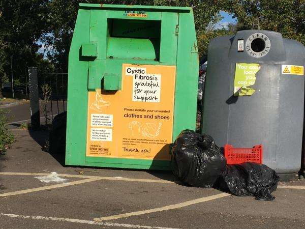 Flytipping at front and side of recycling banks-2a Lesford Road, Reading, RG1 6DW