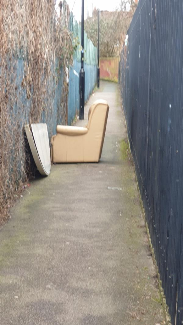 Location is the alleyway that starts at 92 western road which leads to plaistow primary school. Huge sofa blocking the path.-92 Western Road, Plaistow, E13 9JF