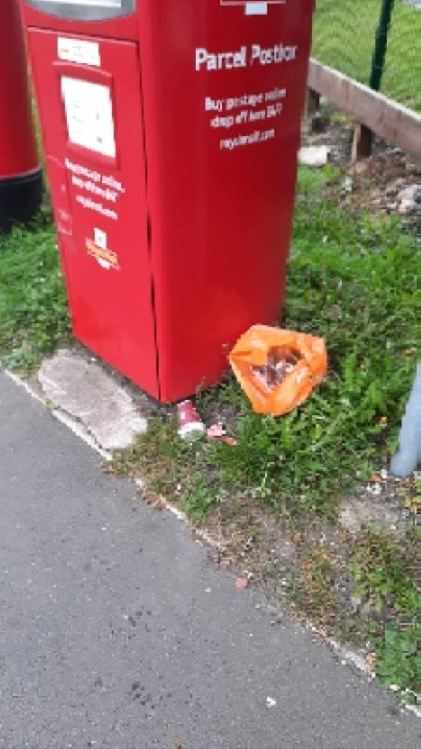 bag of rubbish by postbox-215 Cardiff Road, Reading, RG1 8HT