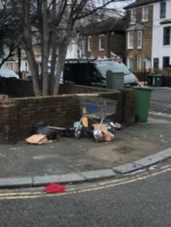 Junction of Ryecroft Road please clear flytip-120 Courthill Road, London, SE13 6EZ