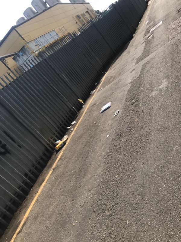Litter on street Fast food waste-13 Nursery Lane, London, E7 8BN