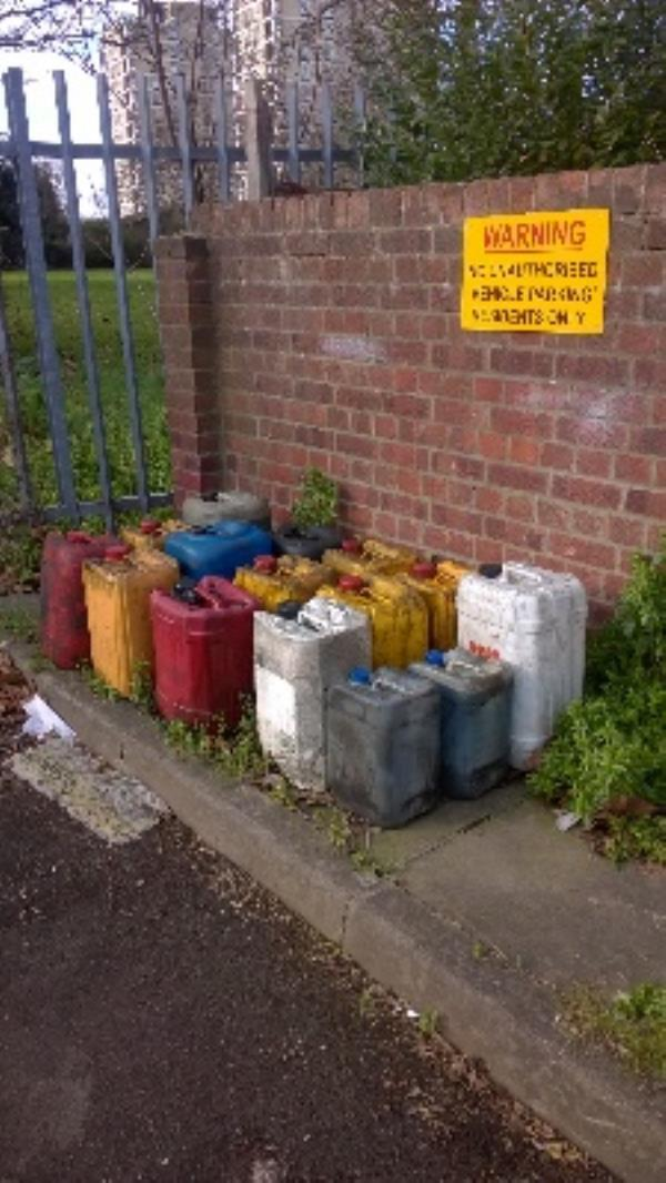 opp 36 St Marys Rd - x15 canisters motor oil/fluids-26 St Mary's Road, London, E13 9