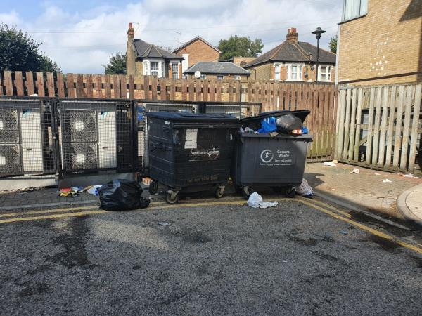 General waste bin overflowing, not sure what business it belongs to. I think it should be removed all together.-831B Romford Rd, London E12 6EA, UK