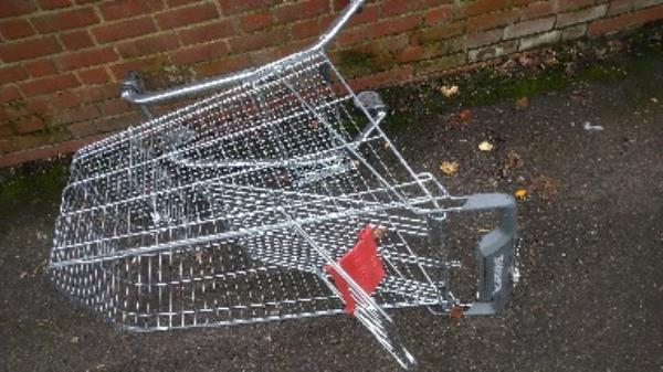 Flytipped trolley no evidence taken -Rodney Court Berkeley Avenue, Reading, RG1 6HG