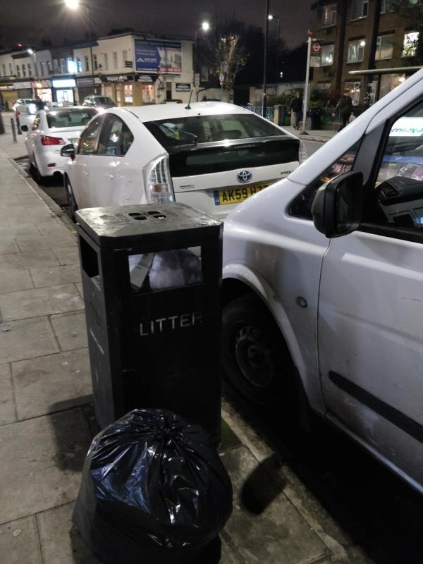 Dumped black bag of rubbish on the pavement beside 90a Leytonstone Road E15-92 Leytonstone Road, London, E15 1TQ