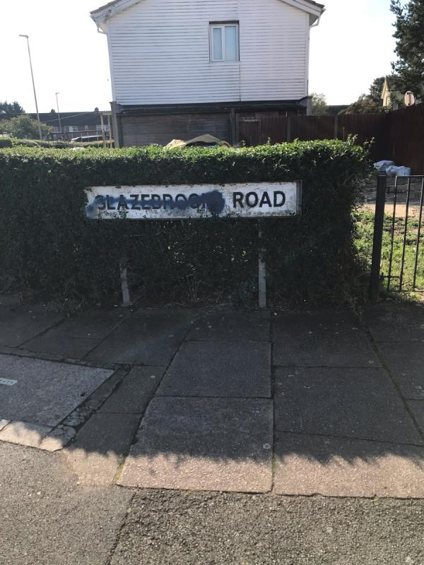Street name plate needs replacing -2 Glazebrook Road, Leicester, LE3 9NT